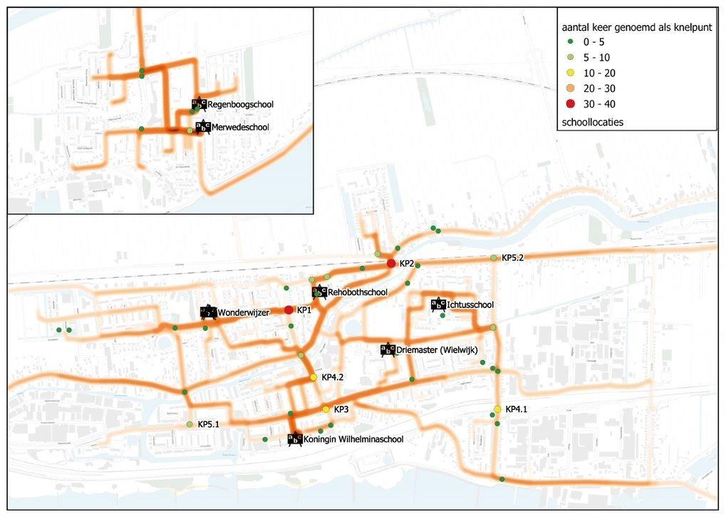 Fietsroutes basisschool leerlingen op kaart