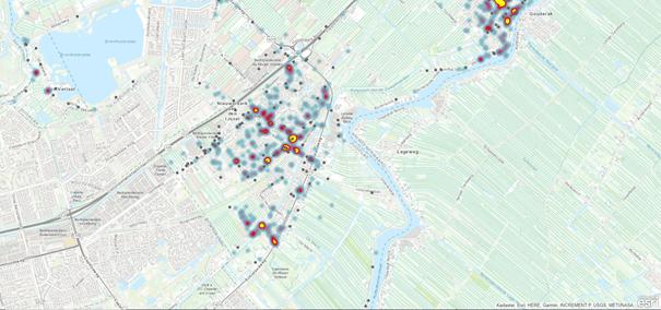 Figuur 2 Objectieve verkeersongevallen en een heatmap van de subjectieve verkeersonveiligheid